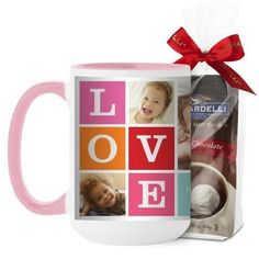 Love Mug, Pink, with Ghirardelli Premium Hot Cocoa, 15 oz, Pink