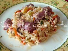 Cozinha com Arte: arroz de salsichas com legumes asiáticos