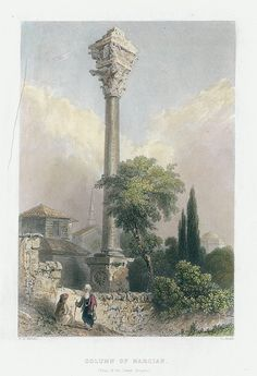 Turkey, Istanbul, Column of Marcian, 1838