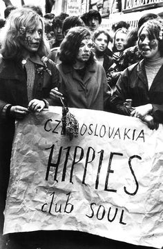 Czechoslovakian hippies during May Day Parade, Prague, 1968 by Josef Koudelka