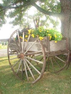 Wooden cart planter