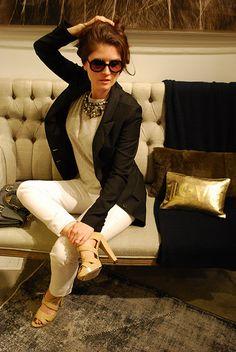 #CalypsoStBarth Cashmere Tee + Tuxedo Blazer + White #Paigedenim + HM Necklace