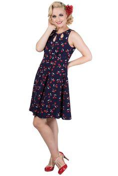Banned Pinup Rockabilly Cherry love Summer Romance Flare mini Dress