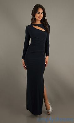 Dress, Long Sleeve Form Fitting Formal Dress - Simply Dresses navy blue evening gown maxi dress