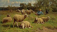 A Shepherd and His Dog Guarding a Flock of Sheep by Cornelis van Leemputten