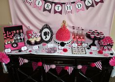 Barbie dessert tables
