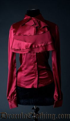 Red Satin Marquess Blouse - Blouse and Tops - Ladies Clothing Marquess, Steampunk Clothing, Red Satin, Affordable Fashion, Fashion Outfits, Fashion Tips, Plus Size Fashion, Leather Jacket, Clothes For Women