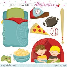 Pajama Party Clipart, Slumber Party clipart, Cute Girl Night ...