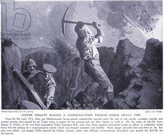 Sapper Pollitt making a communication trench under heavy fire at the Gallipoli Peninsula June 1915 (litho)