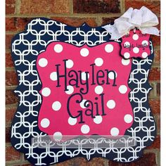 Personalized Chain Link Baby Sign For Hospital Door (Hot Pink/Navy Blue) Children  Housewares  Room Decor  Baby  personalize  door decoration  hospital  baby shower  TeamEtsyBABY nursery decoration  monogram  shower decoration  children wall art  door hanger  baby door hanger  navy blue pink