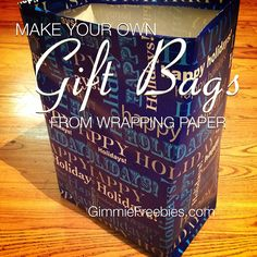 Make Your Own Gift Bags on the Cheap ~ so easy! I never would have thought of this. Great if you're last-minute wrapping presents and run out of bags!