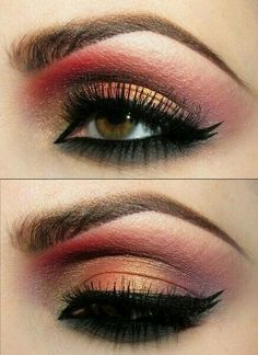 Reddish gold really brings out the hint of yellow tones in those with light brown eyes.  G;)