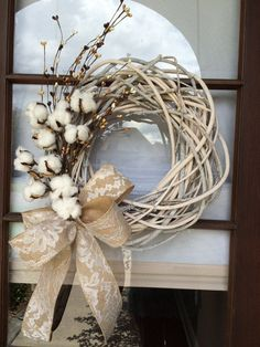 Whitewashed grapevine wreath with cotton spray and burlap lace ribbon by…