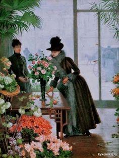 Gilbert, Victor-Gabriel (b,1847)- Lady in Flower Shop, I