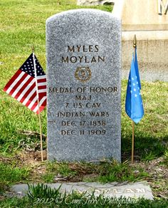 Myles Moylan - Captain, commanding Company A, 7th US Cavalry, during the Battle of the Little Big Horn. Survived the battle, going on to finish a military career. He was awarded the Medal of Honor on 27 November 1894, for his actions fighting the Nez Perce Indians at Snake Creek on 30 Sept 1877.