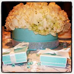 My centrepieces for my breakfast at Tiffany's bridal shower