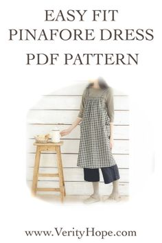 Easy fit japanese pinafore dress pdf sewing pattern