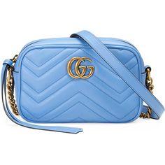 Gucci Gg Marmont Matelassé Mini Bag (£640) ❤ liked on Polyvore featuring bags, handbags, shoulder bags, light blue, women, leather purses, mini shoulder bag, leather shoulder handbags, blue purse and light blue purse