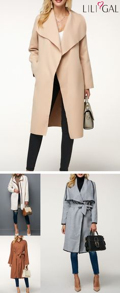 Open Front Pocket Long Sleeve Beige Coat, Belted Light Grey Long Sleeve Coat, Button Up Turndown Collar Trench Coat, Long Sleeve Zipper Front Fluffy Coat. High Fashion Outfits, Fashion 2018, Fashion Group, Womens Fashion, Nyc Fashion, Boho Fashion, Uk Logo, Coats 2018, Beige Coat