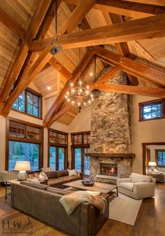 Martis Camp, Tahoe lodge, stone fireplace, heavy timber trusses, wood ceiling