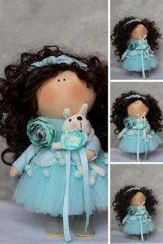 Handmade Soft Doll Rag Art Doll Interior Winter Christmas Doll Bambole Textile Fabric Doll Tilda Blue Doll Cloth Baby Decor Doll by Oksana Z
