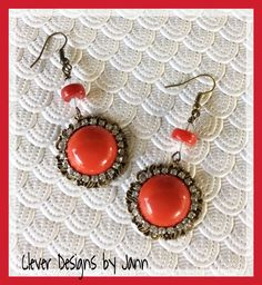 Holiday Red Earrings .. FOR SALE $15.00 .. https://www.etsy.com/shop/CleverDesignsbyJann