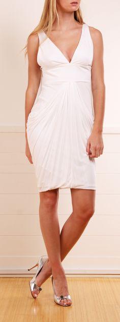 Versace White Drape Sheath Dress