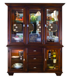 The Hampton Hutch is designed with glass sides, five glass doors, three on top and two on the bottom, with three full extension drawers on the bottom.