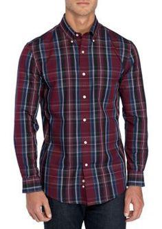 Saddlebred Men's Long Sleeve Easy Care Large Plaid Shirt - Brg/Nvy/Bk - 2Xl