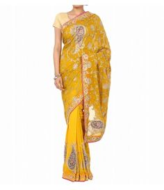 Yellow and  Pink Half style Yellow Zardozi Saree------------------------------------------------ This saree is a visual treat for fashionistas-This Zardozi  yellow saree highlights  rich motifs on the pallu which creates a regal and classy effect-------------------------Sarees from luxurionworld.com  For more info whatsapp msg only +91 9819023844