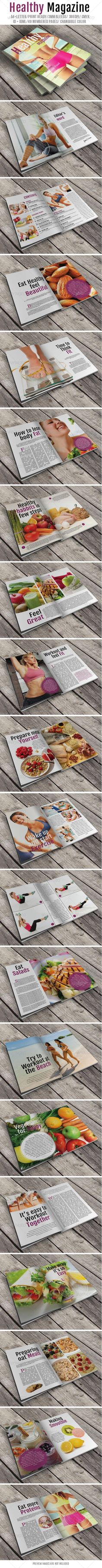 Healthy Magazine, #magazine #template #fitness #workout #healthy #indesign