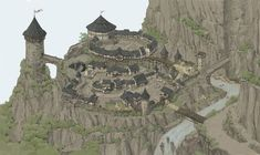 fantasy village mountain artstation map castle town drawing jiwon cartoon
