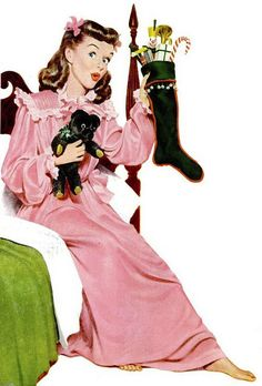 A stocking full of Christmas goodies for this cutely attired 1940s gal. #vintage #nightgown #1940s #Christmas #stocking #hair #cute