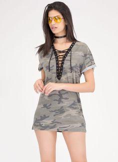 Boot Camp Lace-Up Camo Shirt Dress GoJane.com
