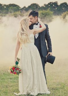 wedding inspiration - love the sparkly gold wedding dress!