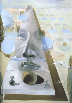 Apparition of the Visage of Aphrodite of Cnidos in a Landscape - Salvador Dali  #dali #paintings #art