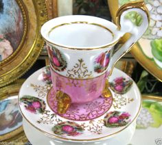 Royal Vienna TEACUP, BEEHIVE 3 FOOTED TEA CUP AND SAUCER DUO pink courting couple