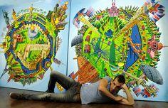 ציור נאיבי ישראלי כדור לונדון ירושלים כמרכז העולם זווית עין הדג צילום ציור כדורים כדור