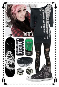 """""""-Polvore family intros- Dani"""" by hiddenshadowxd ❤ liked on Polyvore featuring Rock Rebel, UNIF and Converse"""