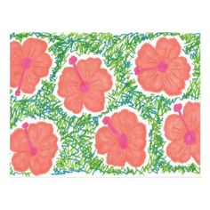 Hibiscus Pop Art Pattern Postcard