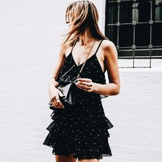 Black and white polka dot dress Summer Outfits, Cute Outfits, All Black Outfit, Glamour, Black Women Fashion, Outfit Goals, Fashion Killa, Women's Fashion, Dress To Impress