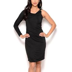 Body Language Women's One Sleeve Cocktail LBD