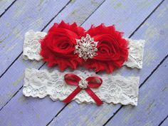 Garters Red Bridal Garter Red Wedding Garter Garter by SkyeBridal, $20.00