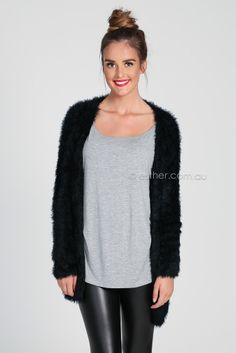 evelyn fuzzy cardigan - black | Esther clothing Australia and America USA, boutique online ladies fashion store, shop global womens wear worldwide, designer womenswear, prom dresses, skirts, jackets, leggings, tights, leather shoes, accessories, free shipping world wide. – Esther Boutique
