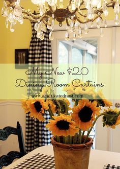 A Cultivated Nest Tablecloths used as curtains-budget decorating idea