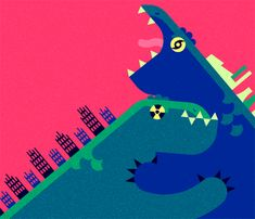 Robin Davey. Warring Godzillas from this month's Wired Italia. For a column discussing the shifting symbolism of the franchise from its roots in post-Hiroshima nuclear fears, to the environmental allegory of its current big-budget incarnation.