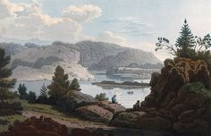 "View near Dillengen (JW Edy plate 70). English: ""View near Dillengen"" Norsk bokmål: «Prospect nær ved Dillengen» Drawing by John William Edy (1760-1820) from his journey along the coast of Norway during the summer of 1800. Published in Boydell's picturesque scenery of Norway in 1820."