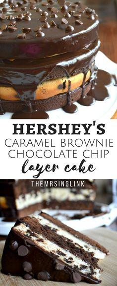 Hershey's Caramel Brownie Chocolate Chip Cake | Dessert Recipes | Best Cake Recipes | Chocolate Chip Cake | Caramel Brownie Recipe | #dessert #recipes #cakerecipes |  Food, Food Glorious Food!