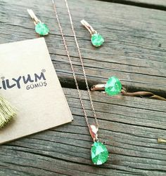 Yeşil opal 925 ayar gümüş kolye 😊