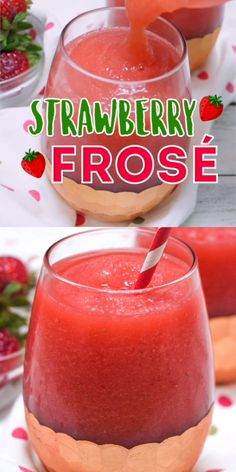 Strawberry Frosé (aka Frozen Rosé Slush) is a refreshing combination of crisp rosé wine and sweet strawberries. So easy, so delicious! Cocktail Vodka, Cocktail Recipes, Slush Recipes, Smoothie Recipes, Jello Shot Recipes, Juicer Recipes, Smoothie Cleanse, Salad Recipes, Frozen Rose